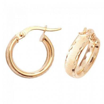 Just Gold Earrings -9Ct Dia Cut Satin Earrings, ER880